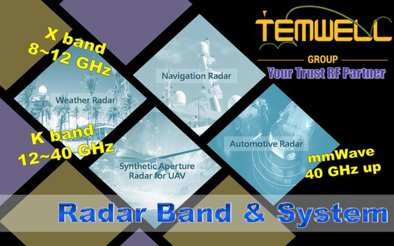 Temwell Brand of  RF Microwave Components used in Different Radar Band and Application