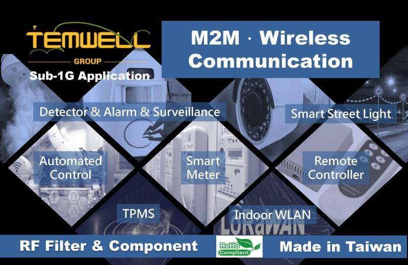 RF microwave components support Sub-1G application in detector, alarm, surveillance, automated control, smart street light, remote controller, indoor WLAN, smart meter, TPMS.