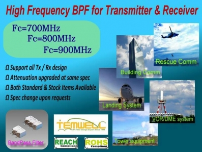 High Frequency BPF for Transceiver & Receiver